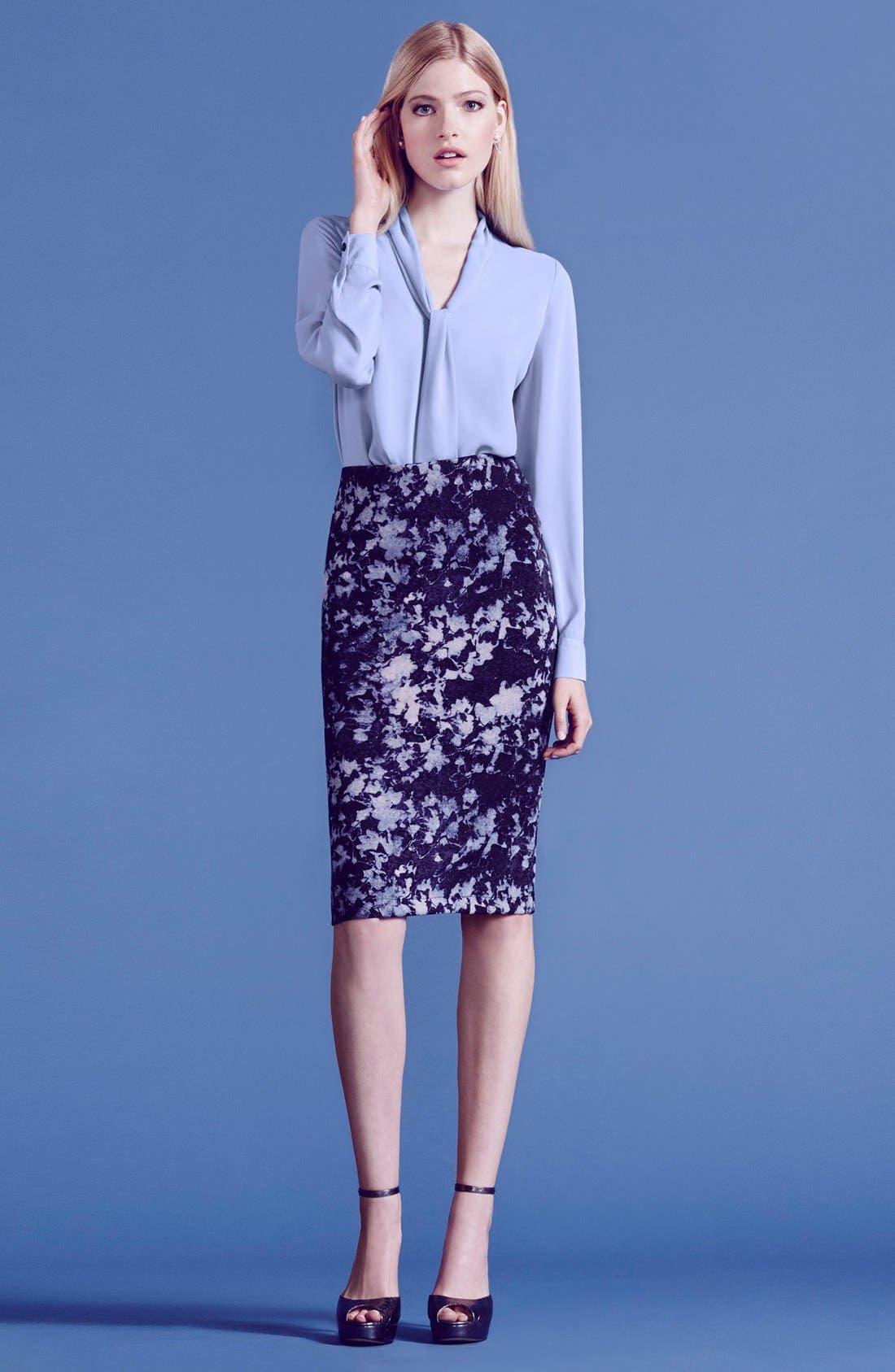 Alternate Image 4  - Vince CamutoFloral Print Scuba Knit Pencil Skirt