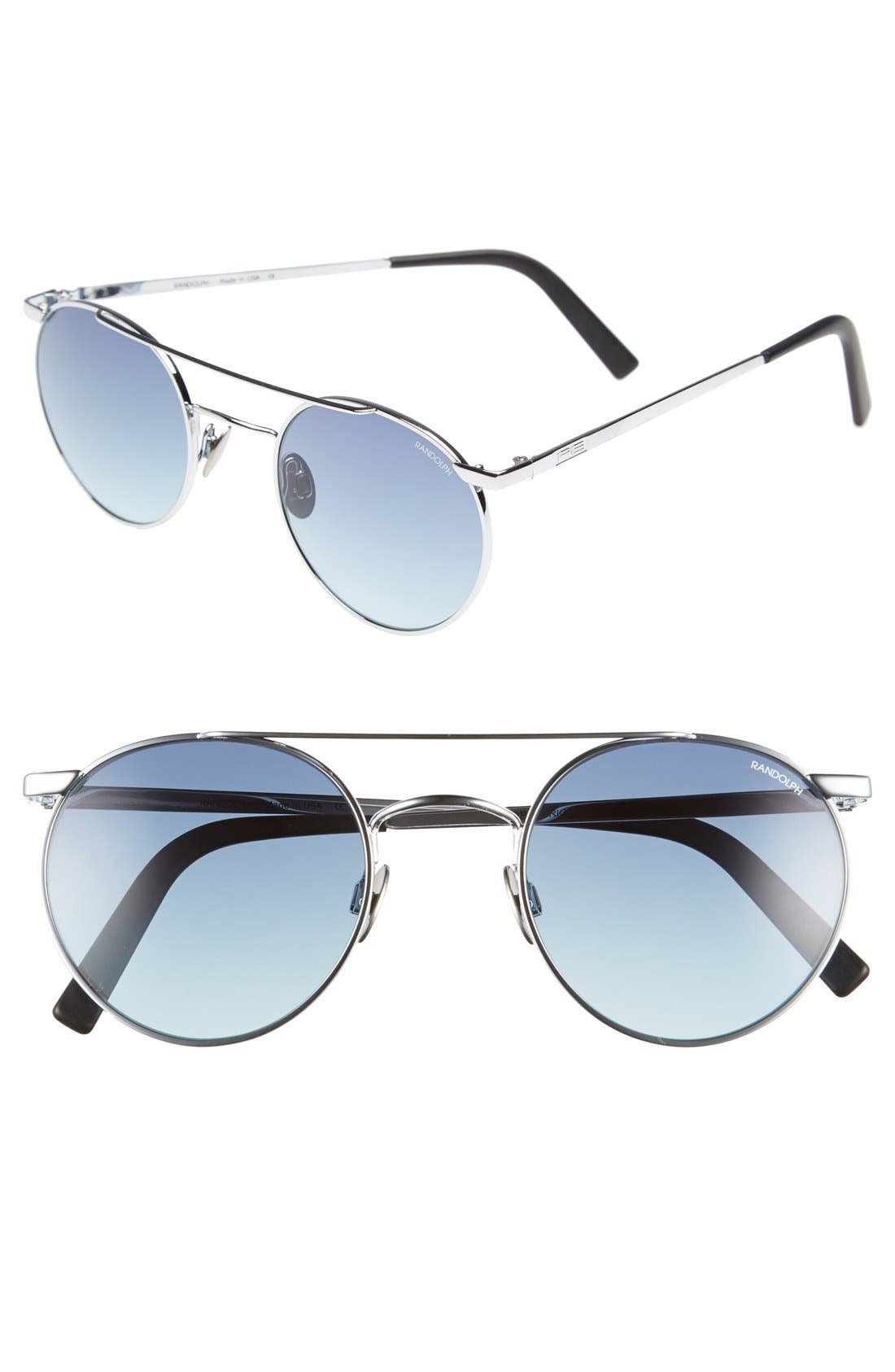 'Shadow' Retro Sunglasses,                         Main,                         color, Bright Chrome/ Navy