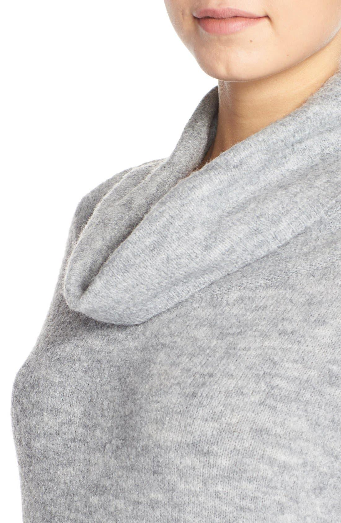 'Leighton' Turtleneck Sweater Dress,                             Alternate thumbnail 5, color,                             Grey