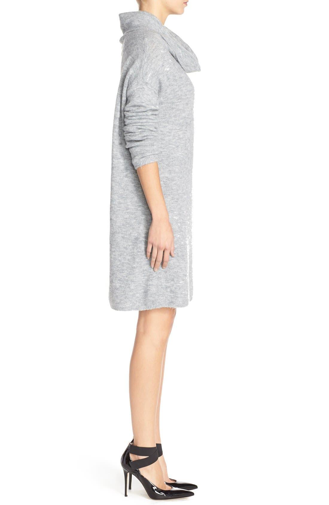 'Leighton' Turtleneck Sweater Dress,                             Alternate thumbnail 3, color,                             Grey