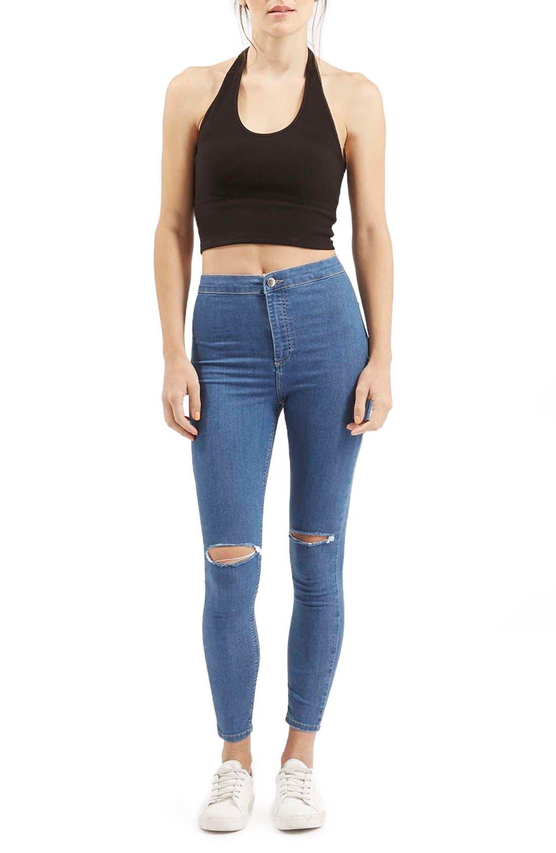 Alternate Image 2  - Topshop 'Joni' RippedHigh Rise Skinny Jeans (Petite)