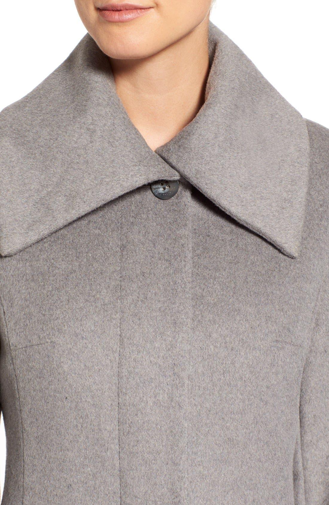 Single Breasted Wool Blend Coat,                             Alternate thumbnail 4, color,                             Platinum