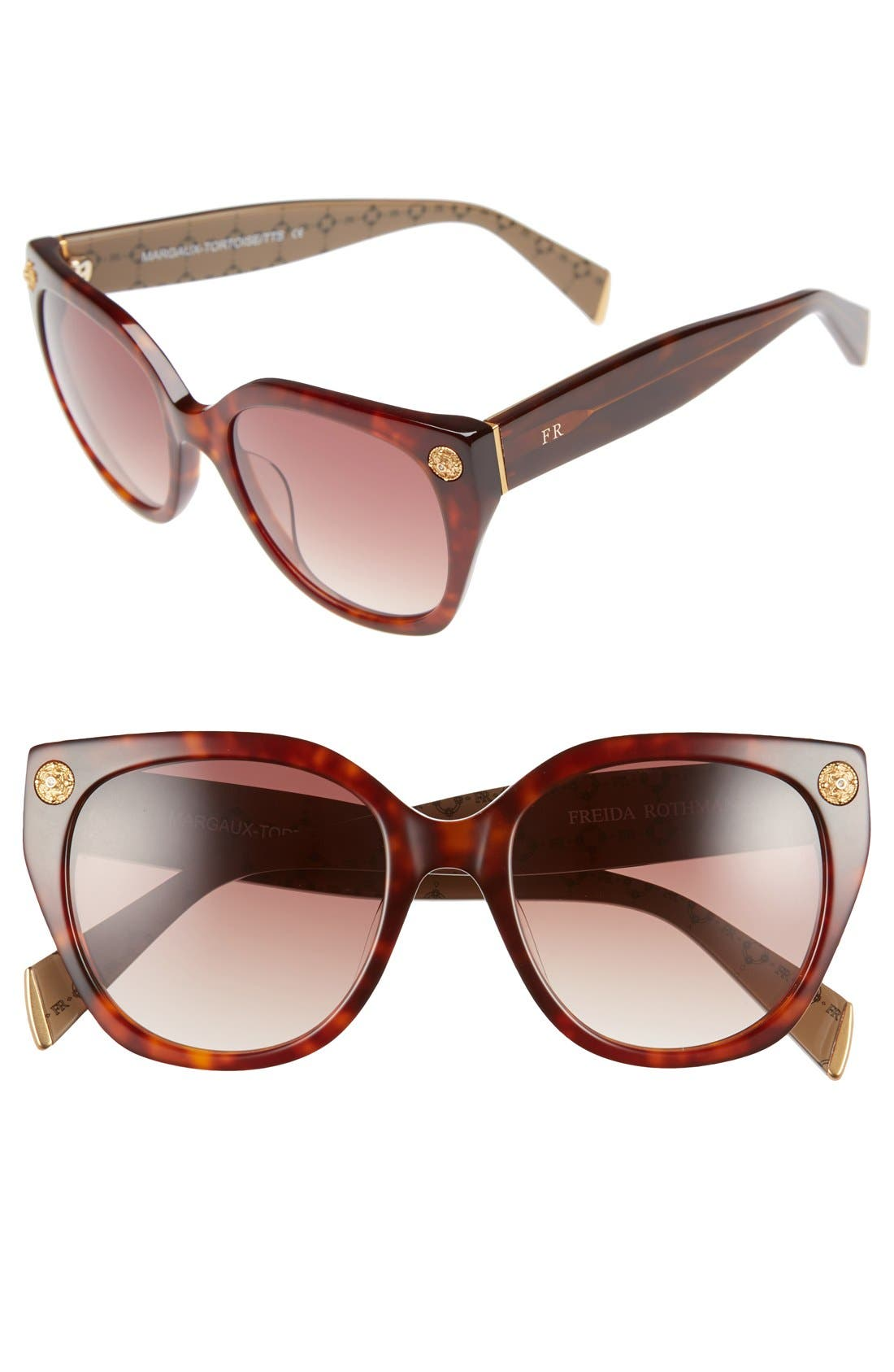 Freida Rothman 'Margaux Elegant' 54mm Retro Sunglasses,                             Main thumbnail 1, color,                             Tortoise