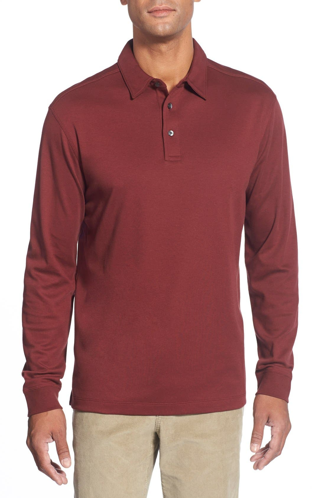 'Belfair' Pima Cotton Polo,                             Main thumbnail 1, color,                             Sleigh