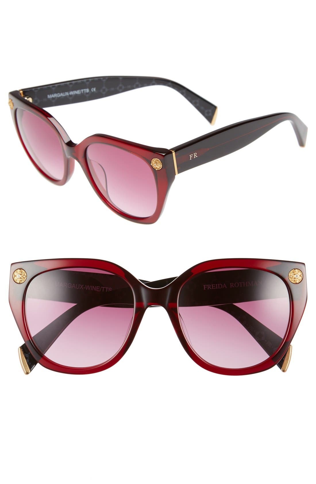 FreidaRothman'MargauxElegant' 54mmRetro Sunglasses,                         Main,                         color, Wine