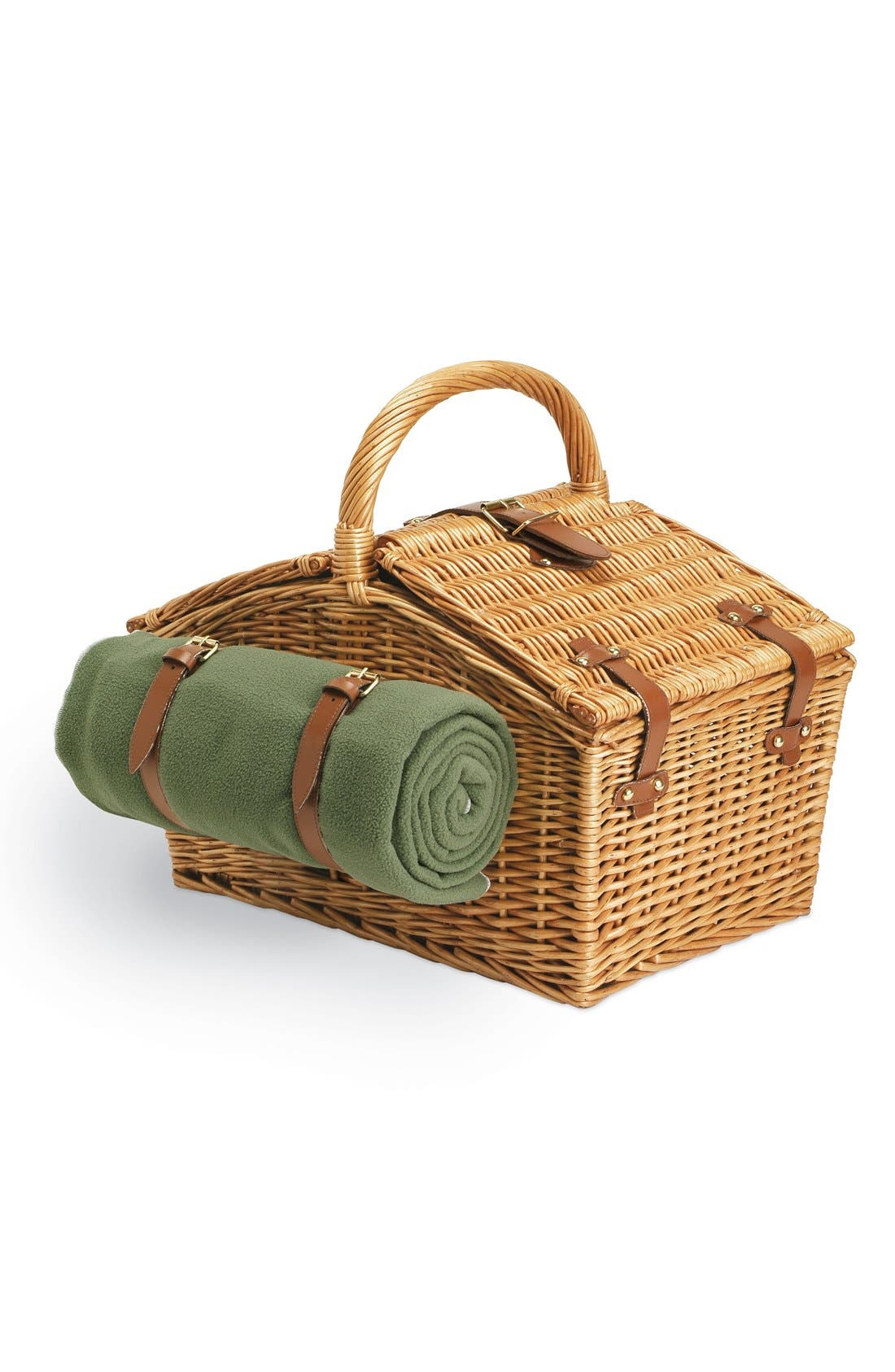 'Somerset' Wicker Picnic Basket,                             Alternate thumbnail 2, color,                             Green