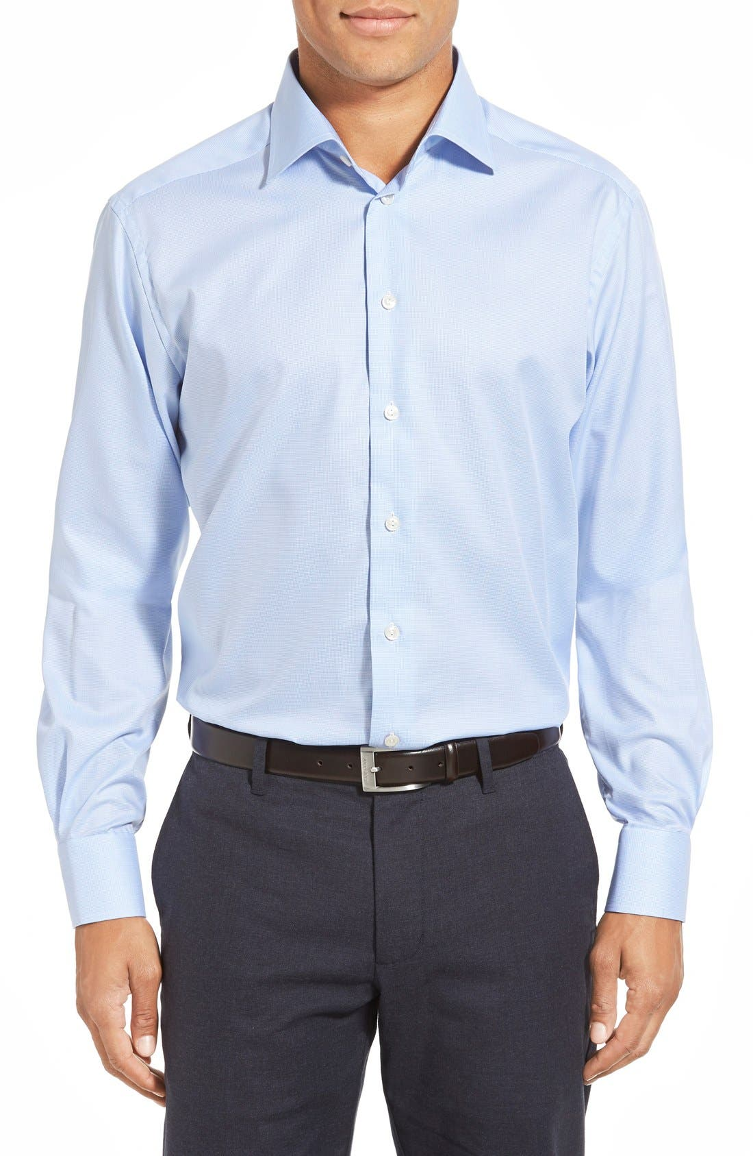 Contemporary Fit Houndstooth Dress Shirt,                         Main,                         color, Blue