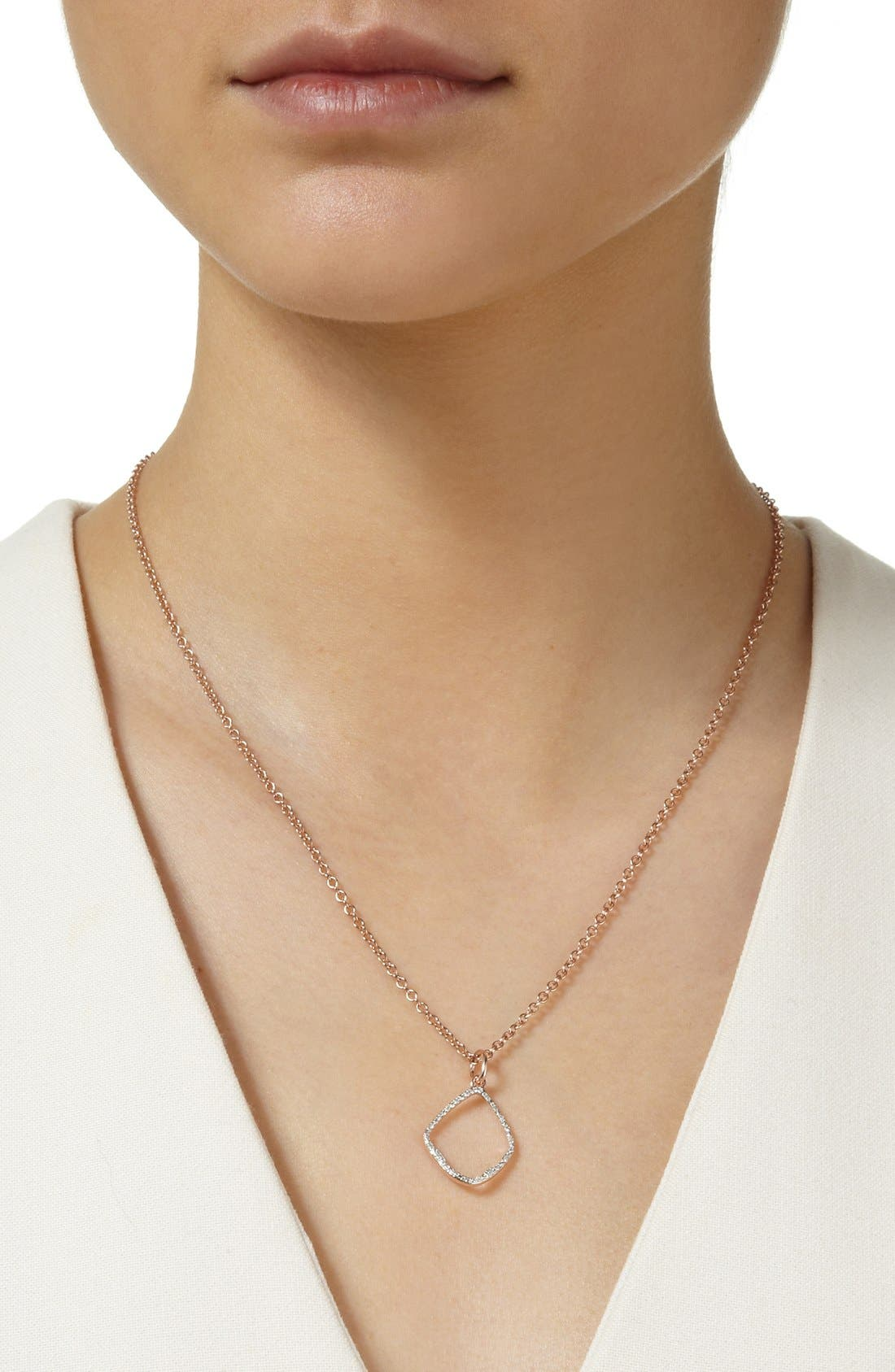 'Riva' Diamond Hoop Pendant,                             Alternate thumbnail 2, color,                             Rose Gold