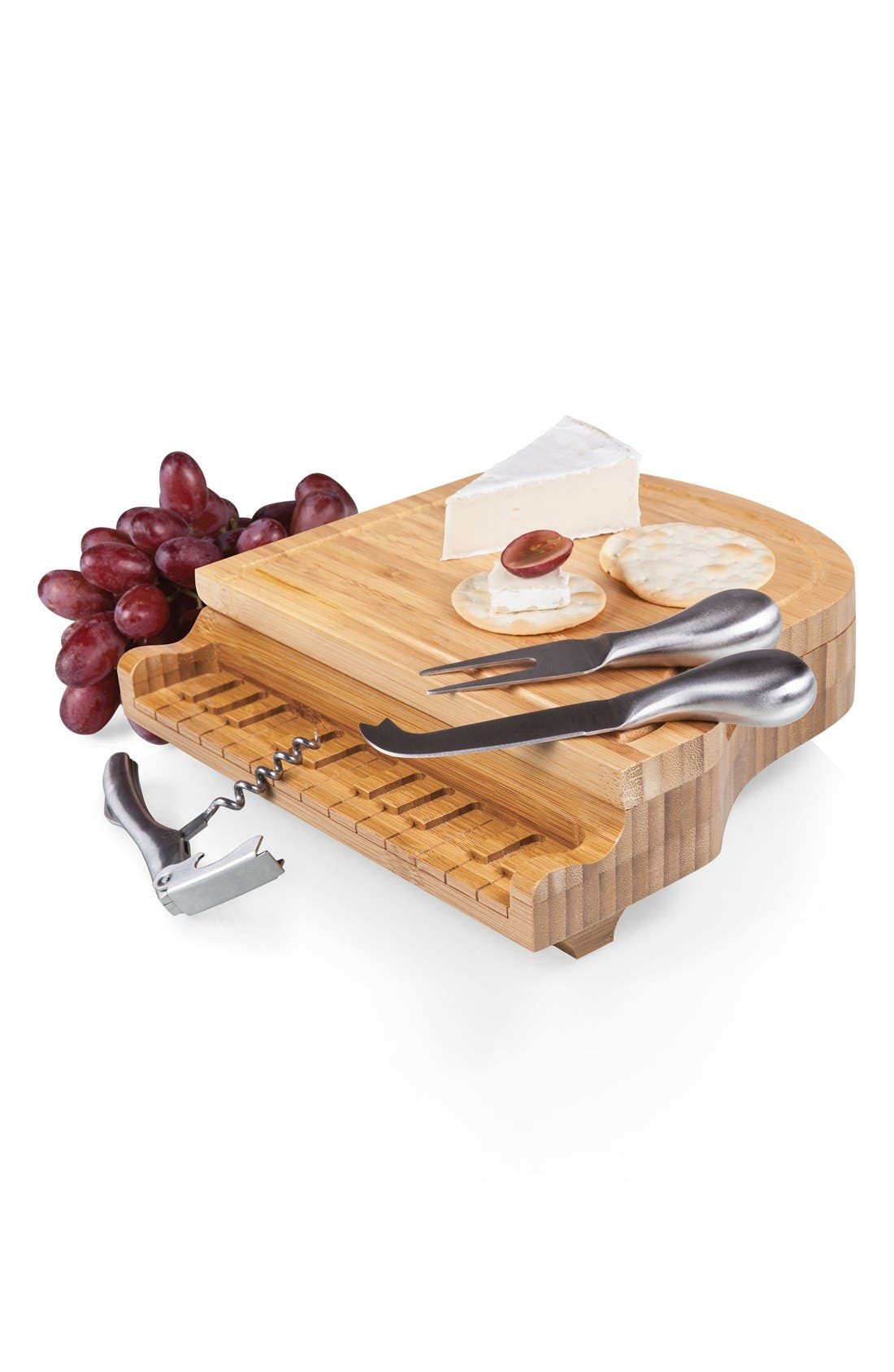 'Piano' Cheese Board Set,                             Alternate thumbnail 4, color,                             Brown