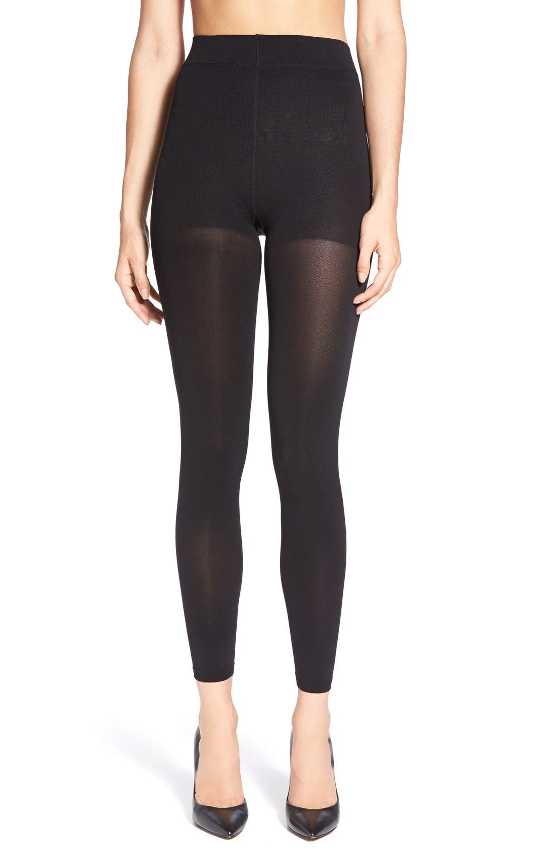 Opaque Footless Tights,                         Main,                         color, Black