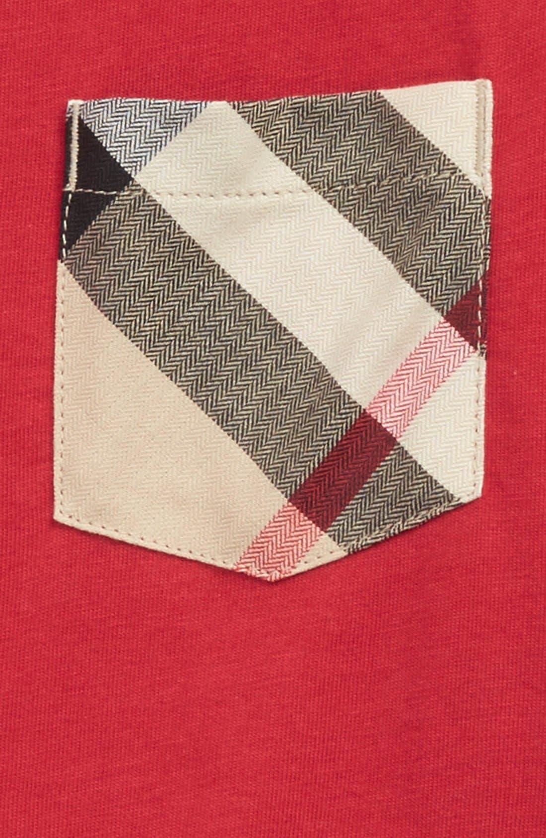 'Callum' Check Print Chest Pocket T-Shirt,                             Alternate thumbnail 2, color,                             Military Red
