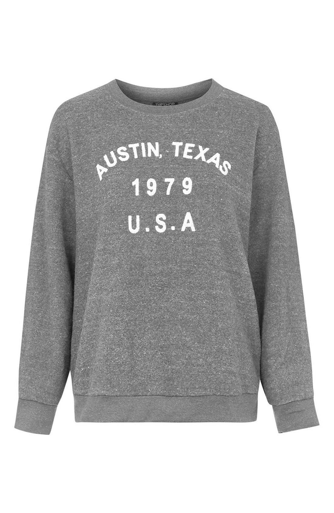 Alternate Image 4  - Topshop 'Austin, Texas' Crewneck Sweatshirt