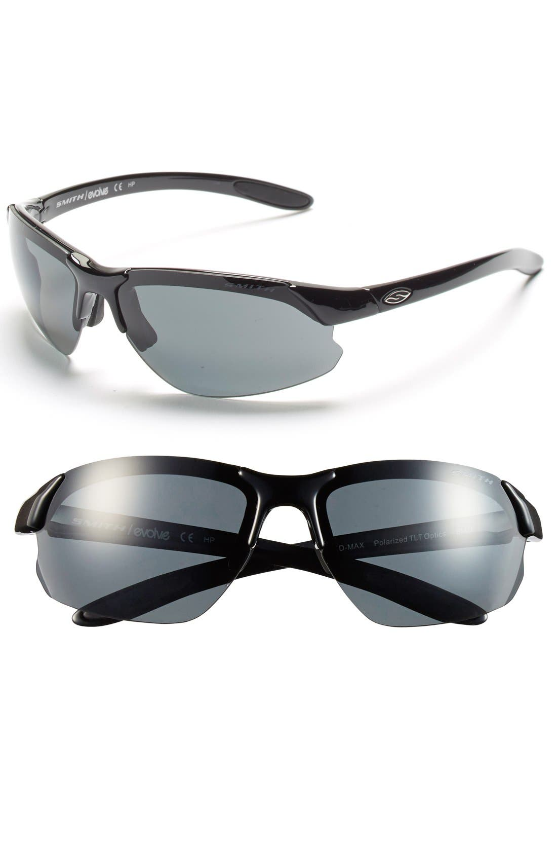 'Parallel DMax' 65mm Polarized Sunglasses,                             Main thumbnail 1, color,                             Black/ Polar Grey/ Clear