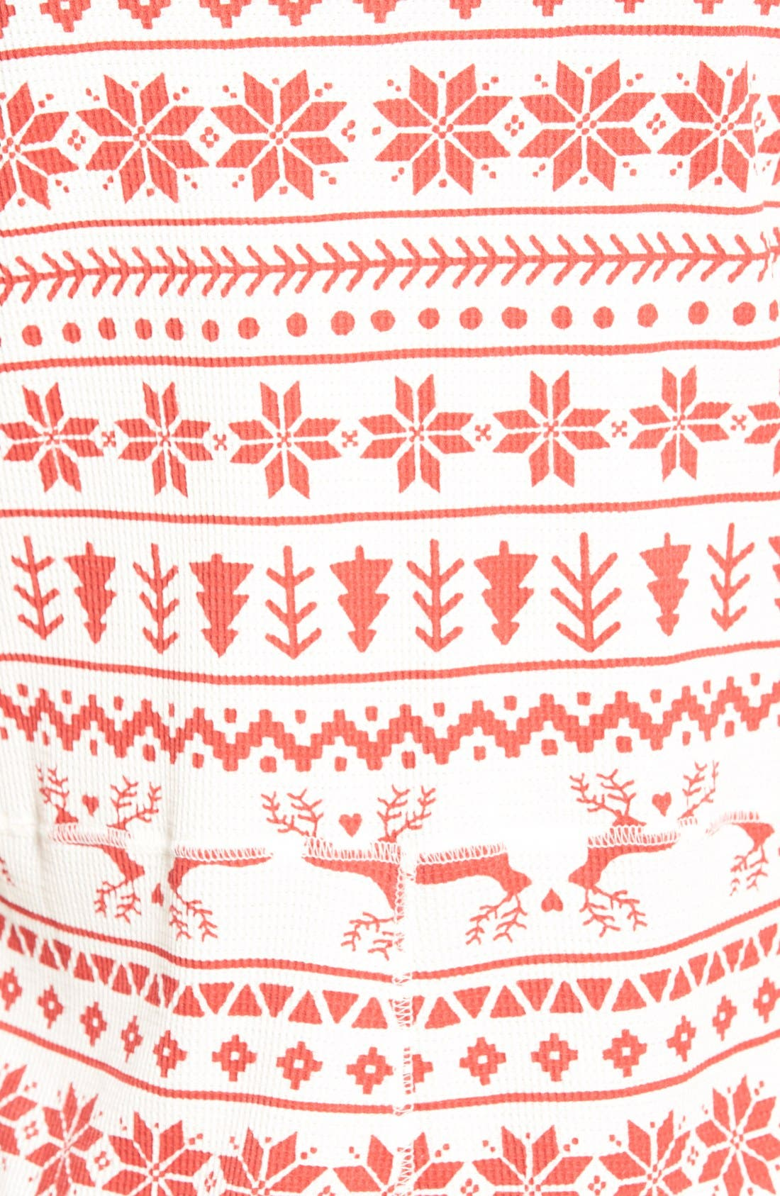 Holiday Thermal One-Piece Pajamas,                             Alternate thumbnail 5, color,                             Red Beauty Fairisle Sketch