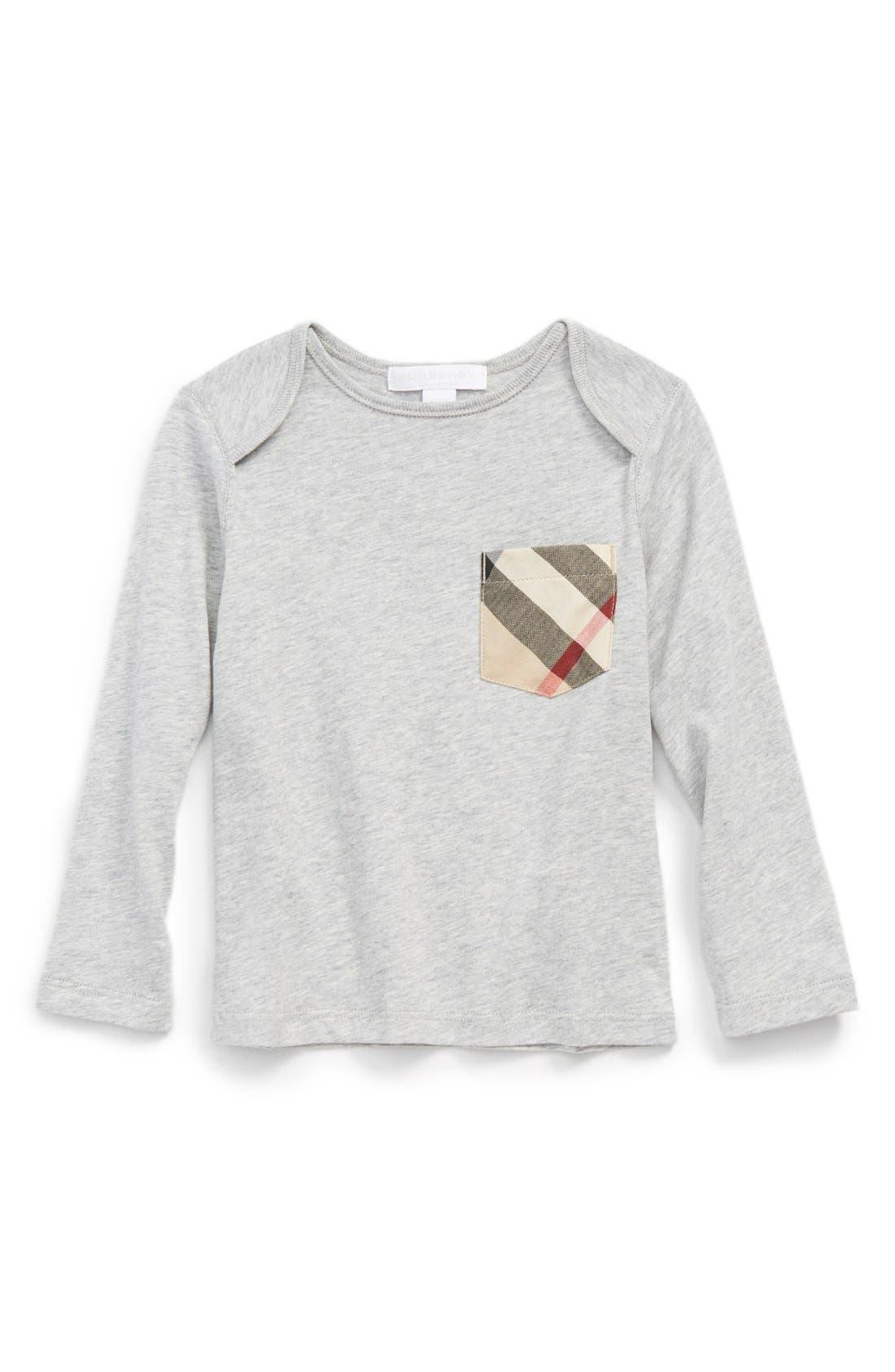 Burberry 'Callum' Check Print Chest Pocket T-Shirt (Baby Boys)
