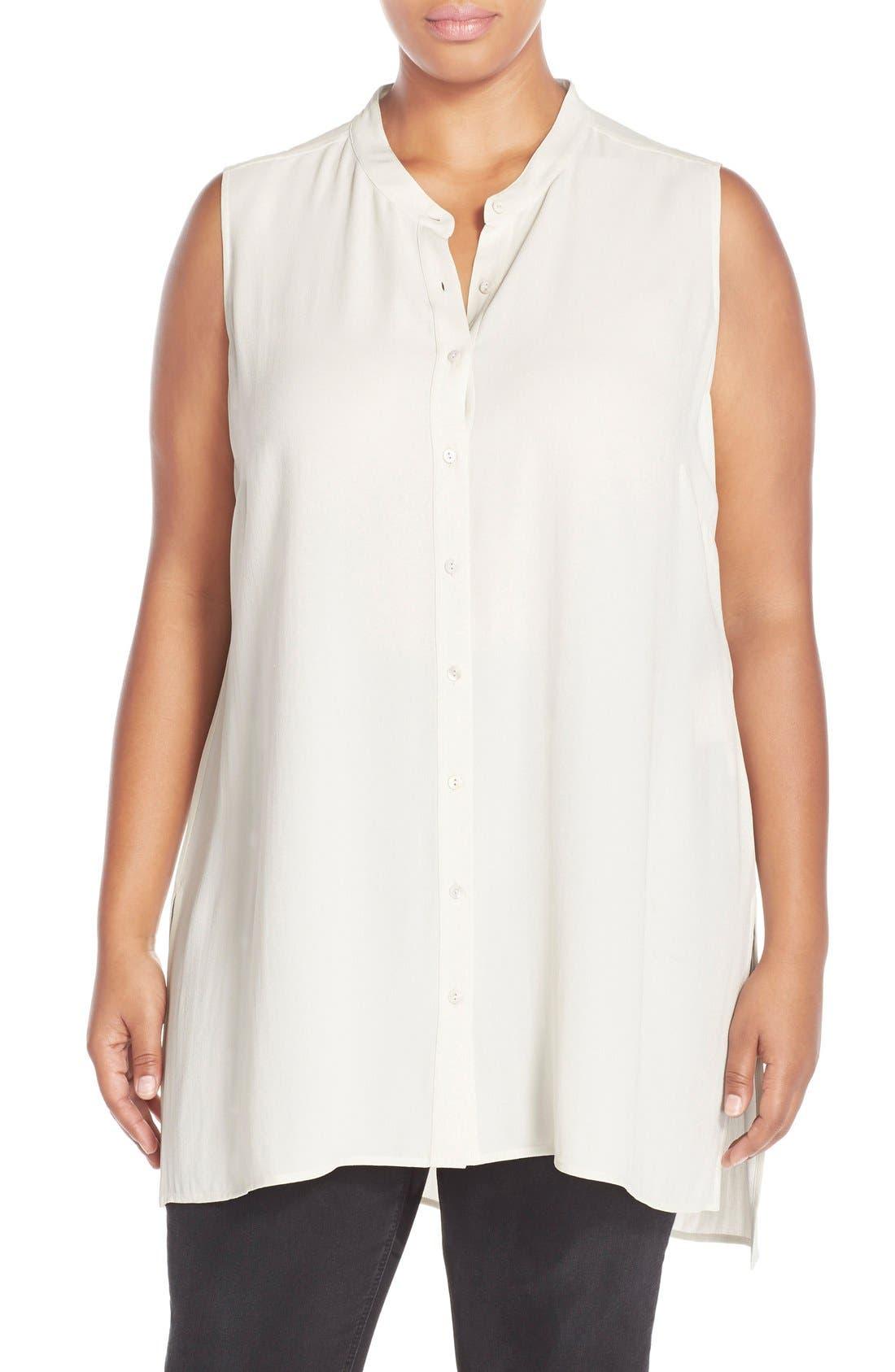 Alternate Image 1 Selected - Eileen Fisher Mandarin Collar Silk Crepe Tunic Shirt (Plus Size)