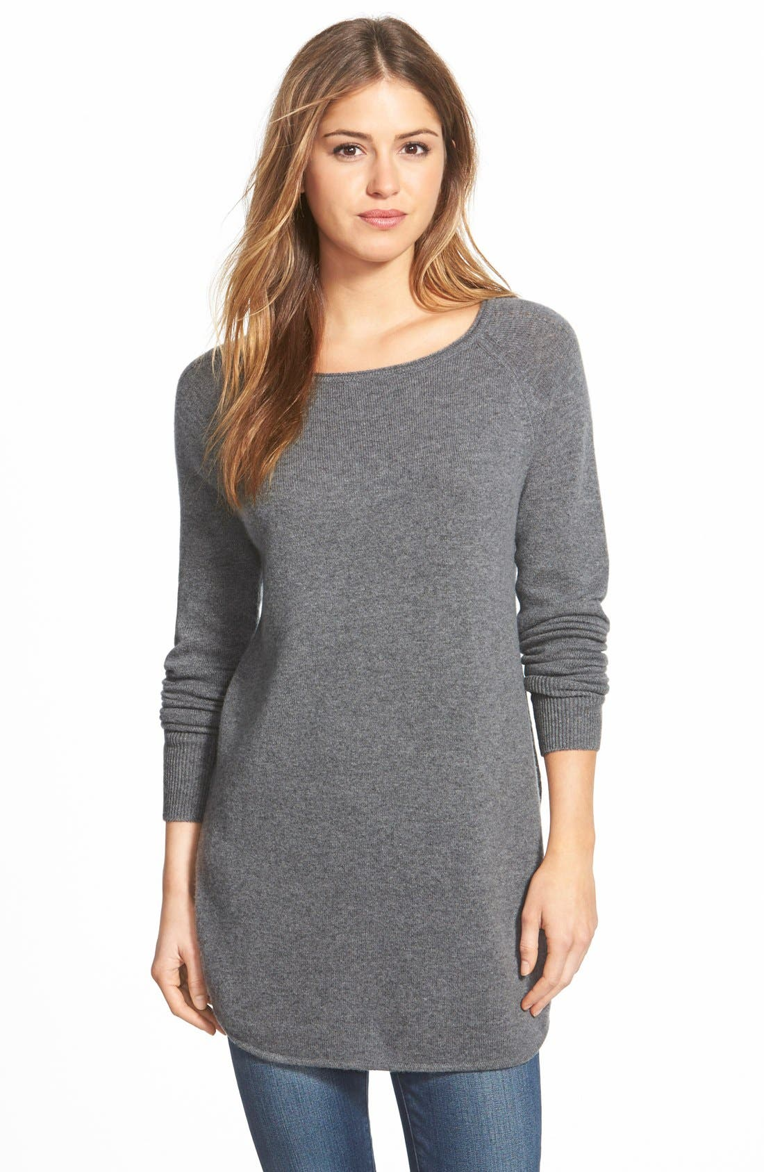 Halogen® Shirttail Wool & Cashmere Boatneck Tunic (Regular & Petite)