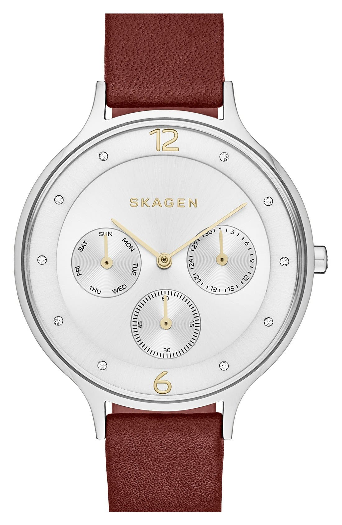 Alternate Image 1 Selected - Skagen 'Anita' Multifunction Leather Strap Watch, 36mm