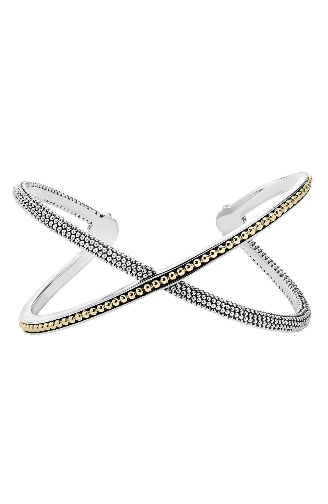 Infinity Cuff Bracelet,                         Main,                         color, Silver/ Gold