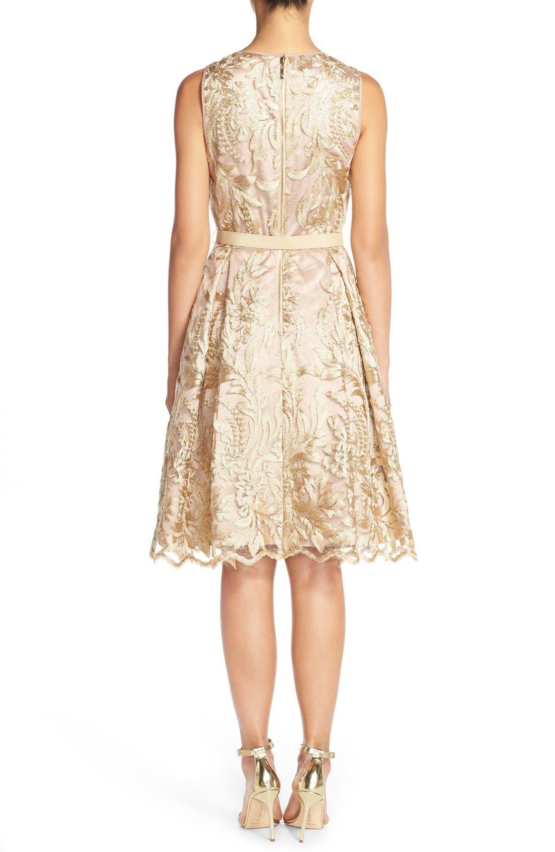 Alternate Image 2  - Eliza J Belted Embroidered Charmeuse Fit & Flare Dress