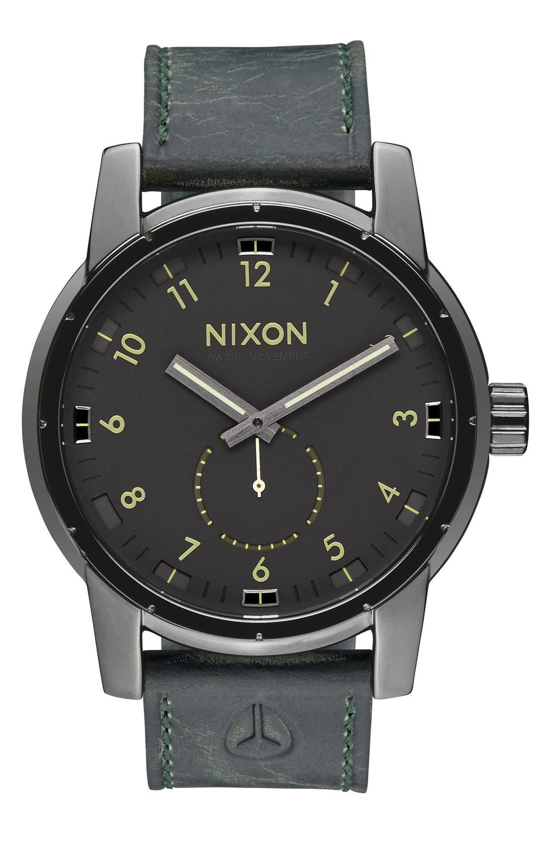 'The Patriot' Leather Strap Watch, 45mm,                         Main,                         color, Gunmetal/ Black