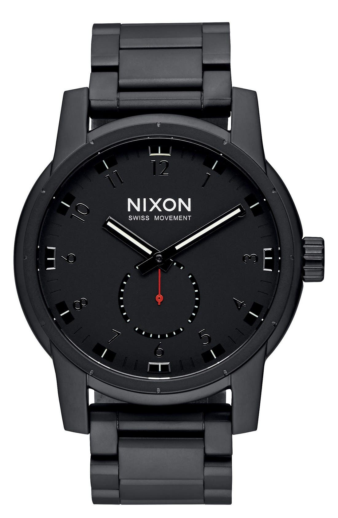 Main Image - Nixon 'Patriot' Round Bracelet Watch, 45mm