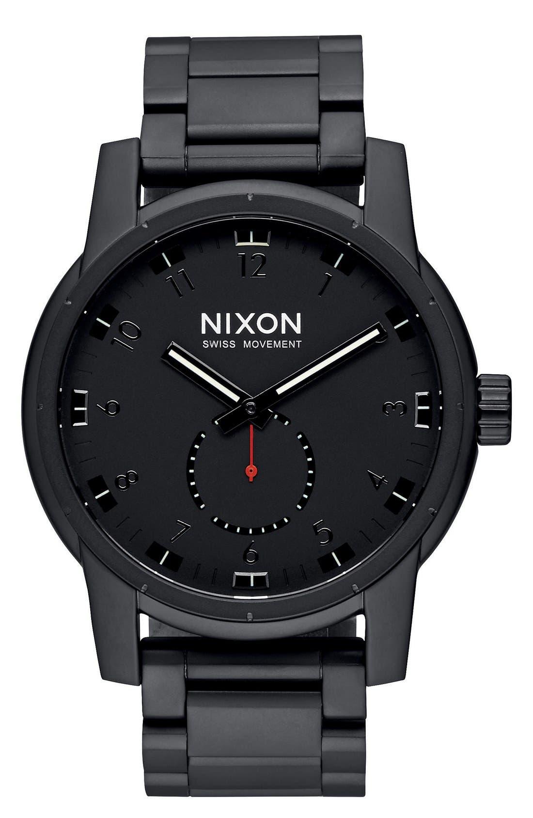 'Patriot' Round Bracelet Watch, 45mm,                         Main,                         color, Black/ Black