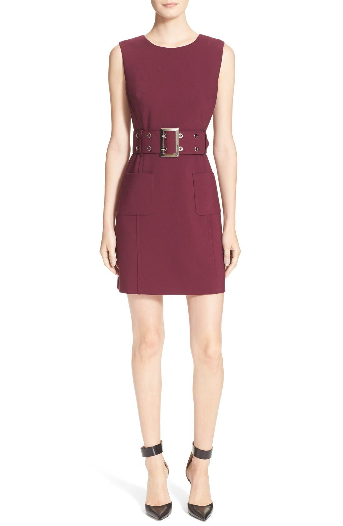 Double Crepe Belted Minidress,                             Main thumbnail 1, color,                             Burgundy