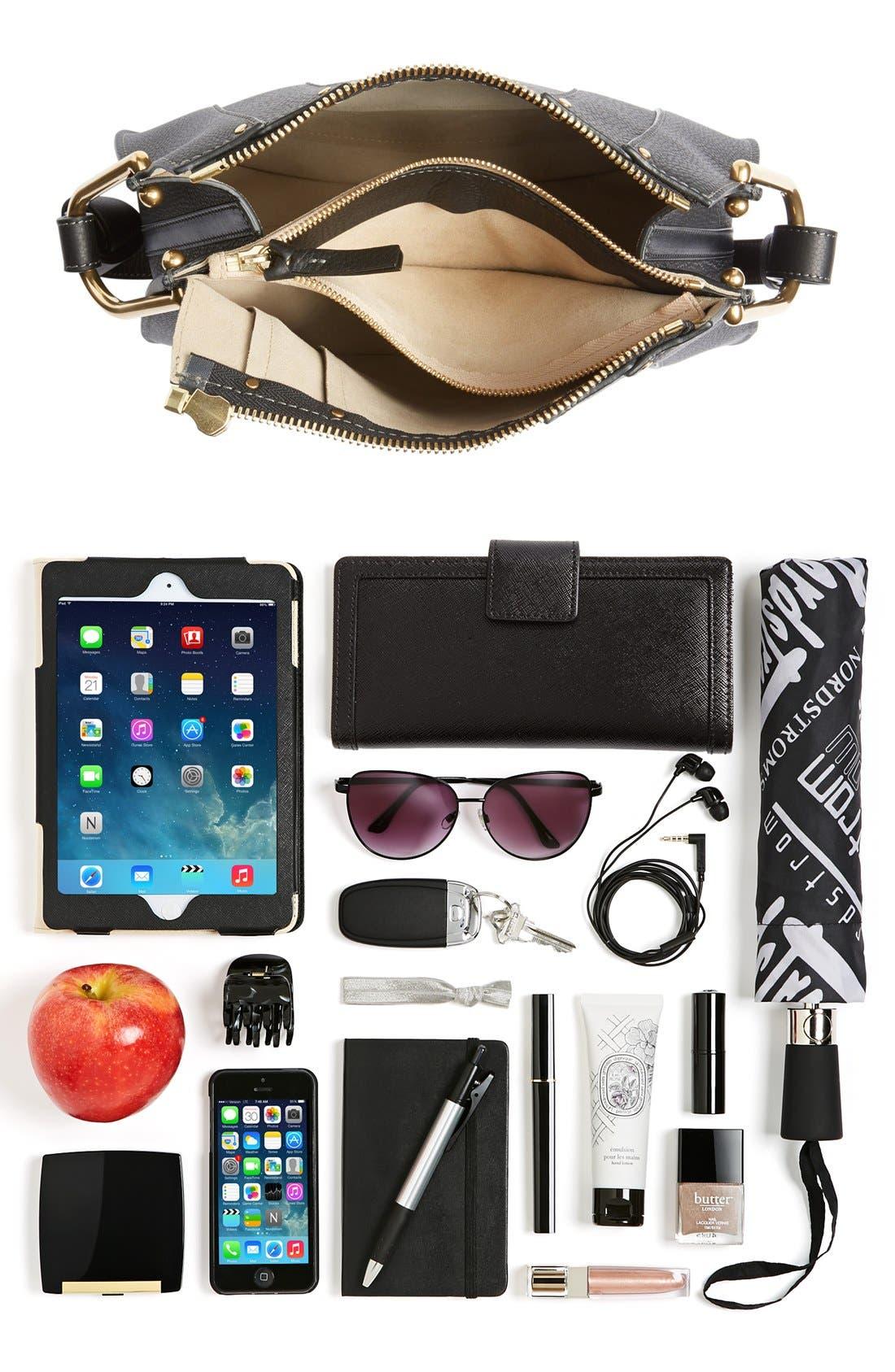 'Small Hayley' Leather Hobo Bag,                             Alternate thumbnail 7, color,                             Black