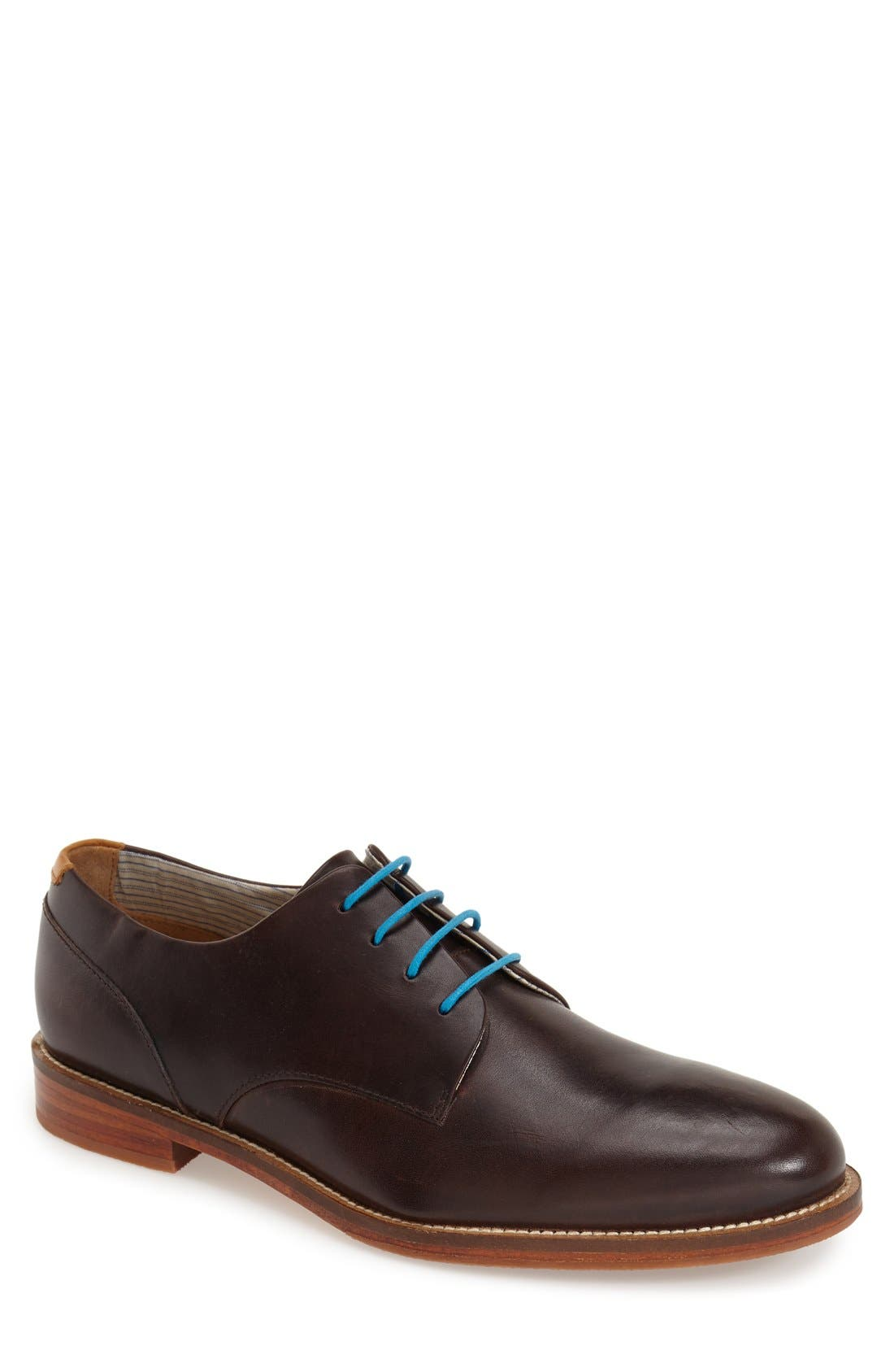 'William Plus' Plain Toe Derby,                             Main thumbnail 1, color,                             Dark Brown