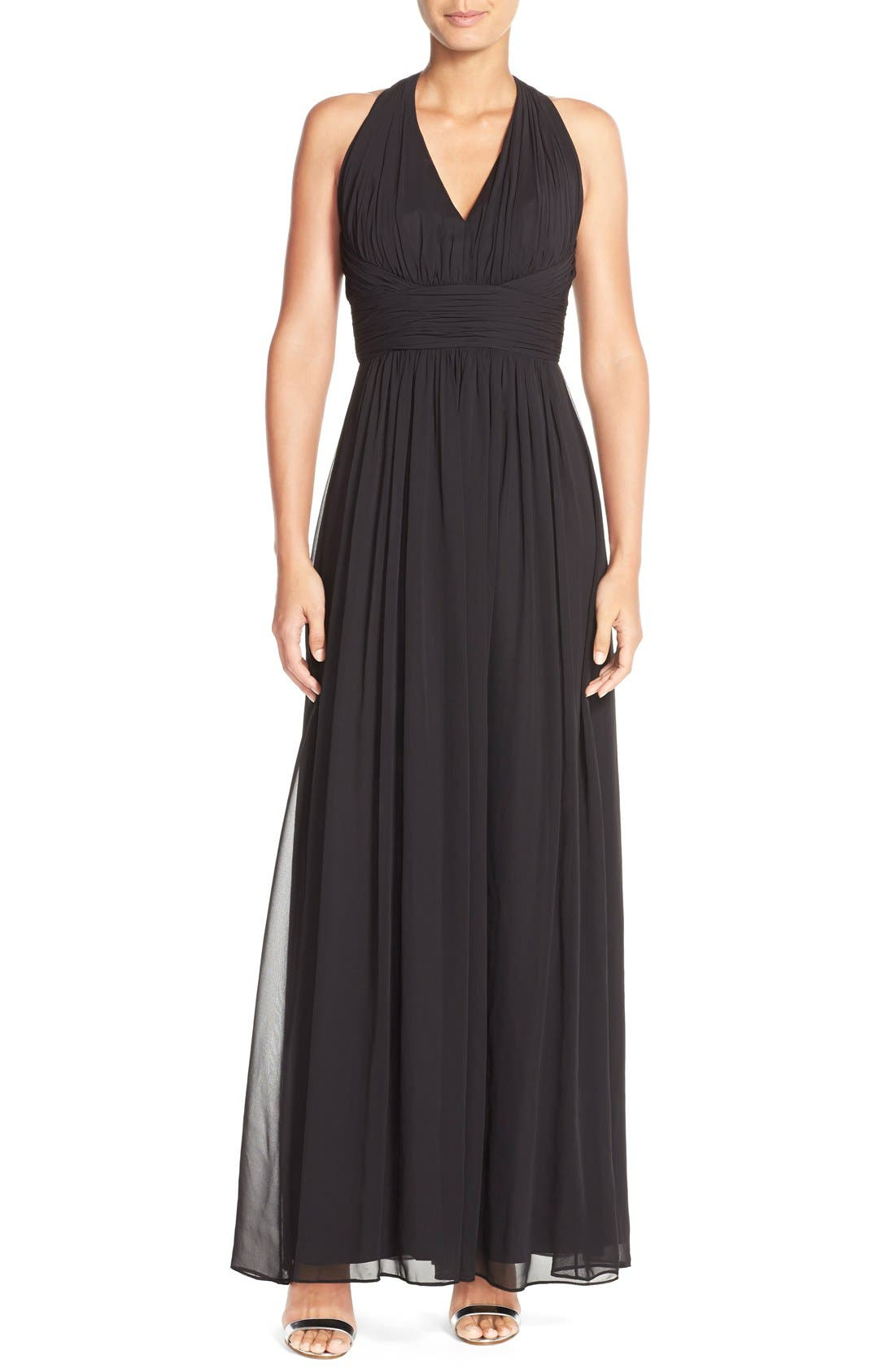 Dessy Collection Ruched Chiffon V-Neck Halter Gown,                             Main thumbnail 1, color,                             Black