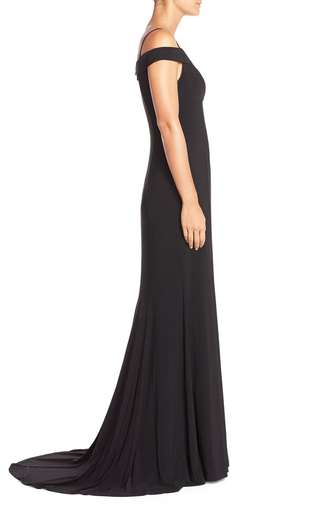 Alternate Image 3  - Adrianna PapellOff the Shoulder Jersey Mermaid Gown
