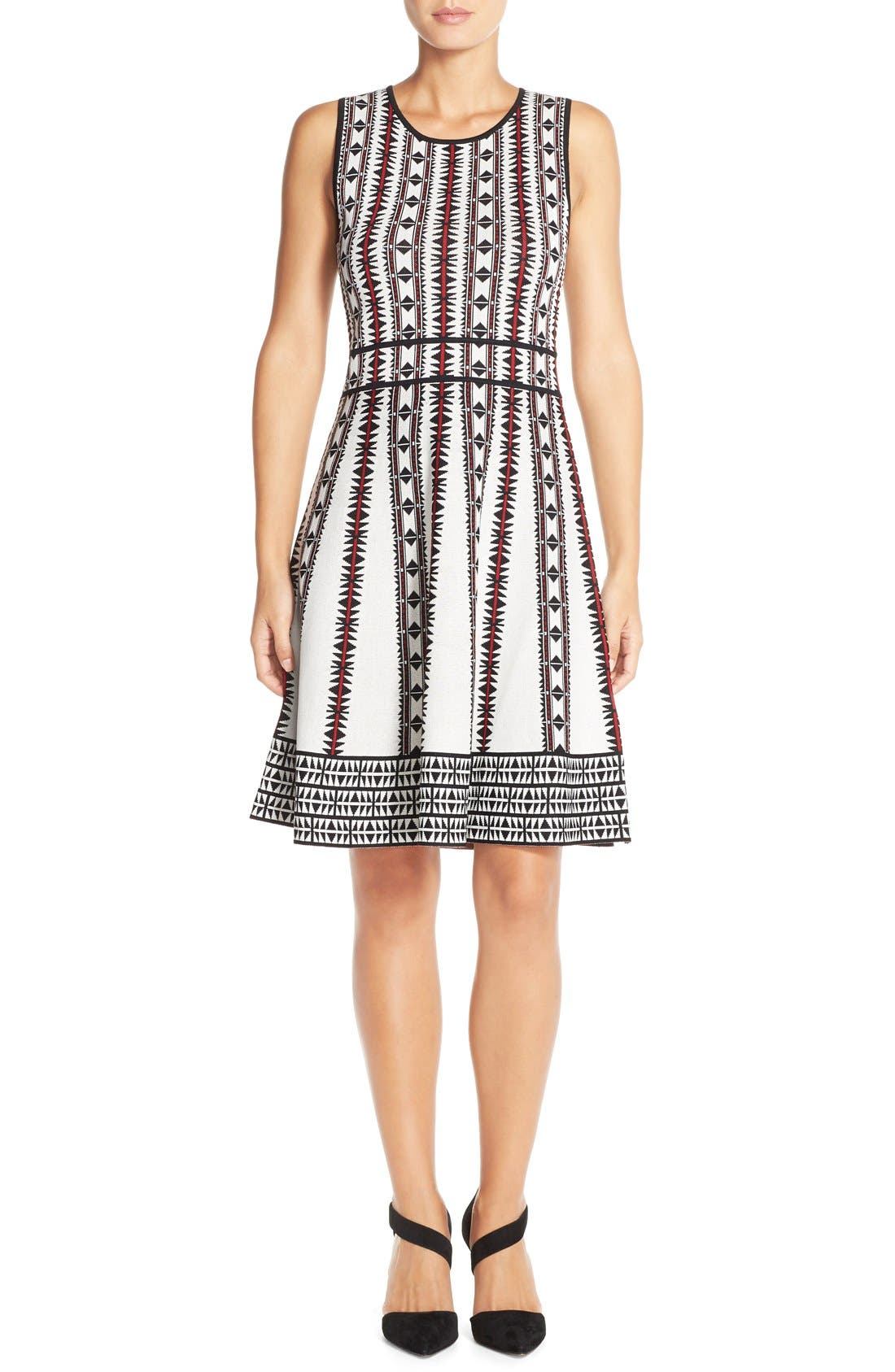 Alternate Image 4  - Vince Camuto Geometric Fit & Flare Sweater Dress