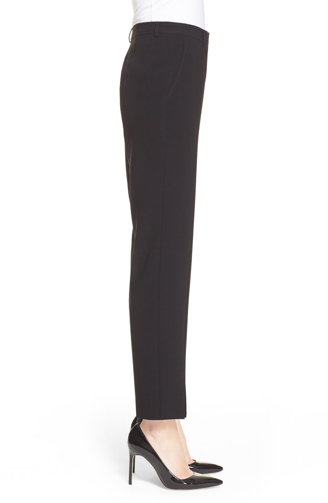 'Jennifer' Crepe Marocain Ankle Pants,                             Alternate thumbnail 5, color,                             Caviar