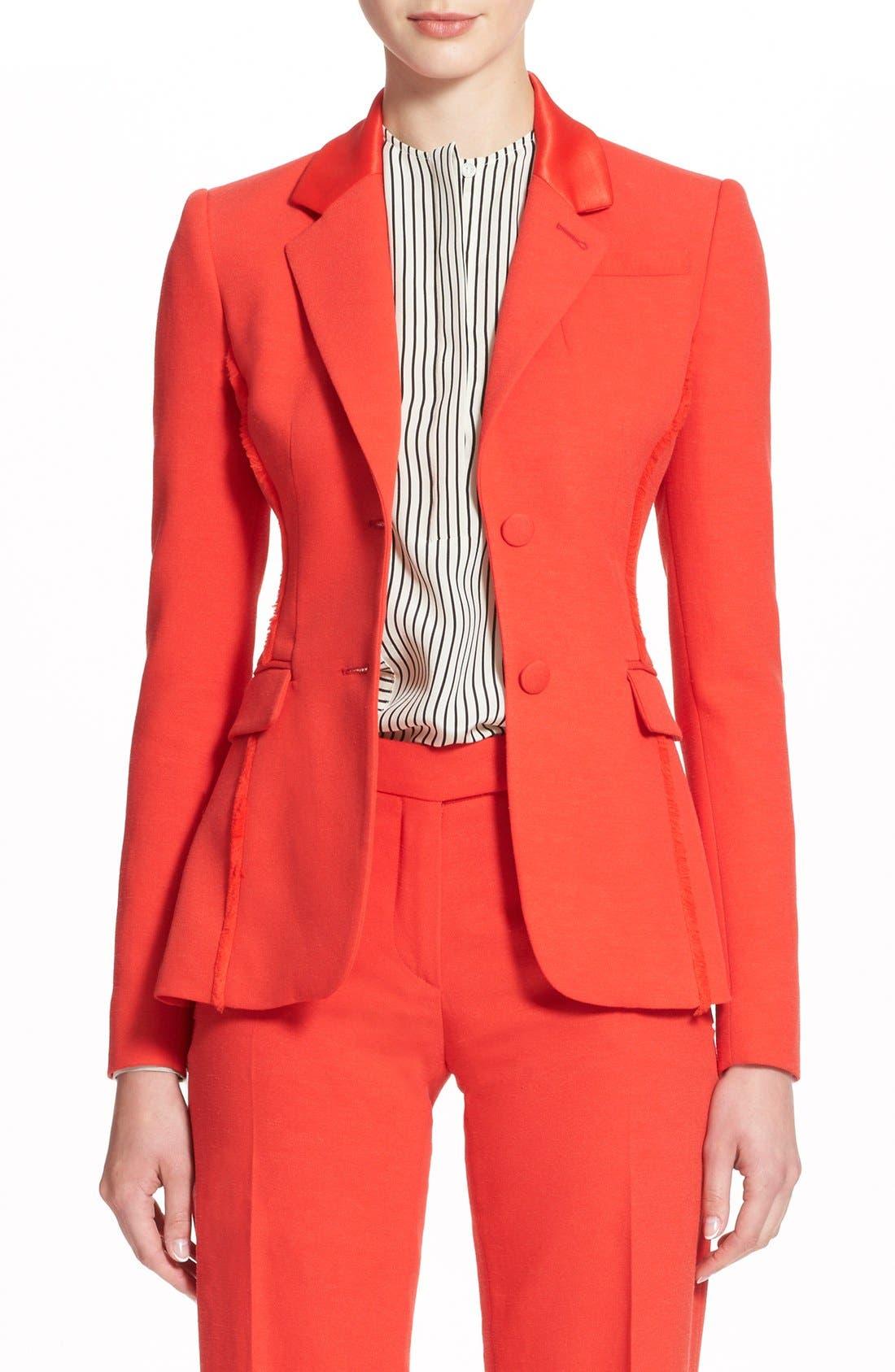 Main Image - Altuzarra 'Fenice' Textured Blazer with Fraying Fringe