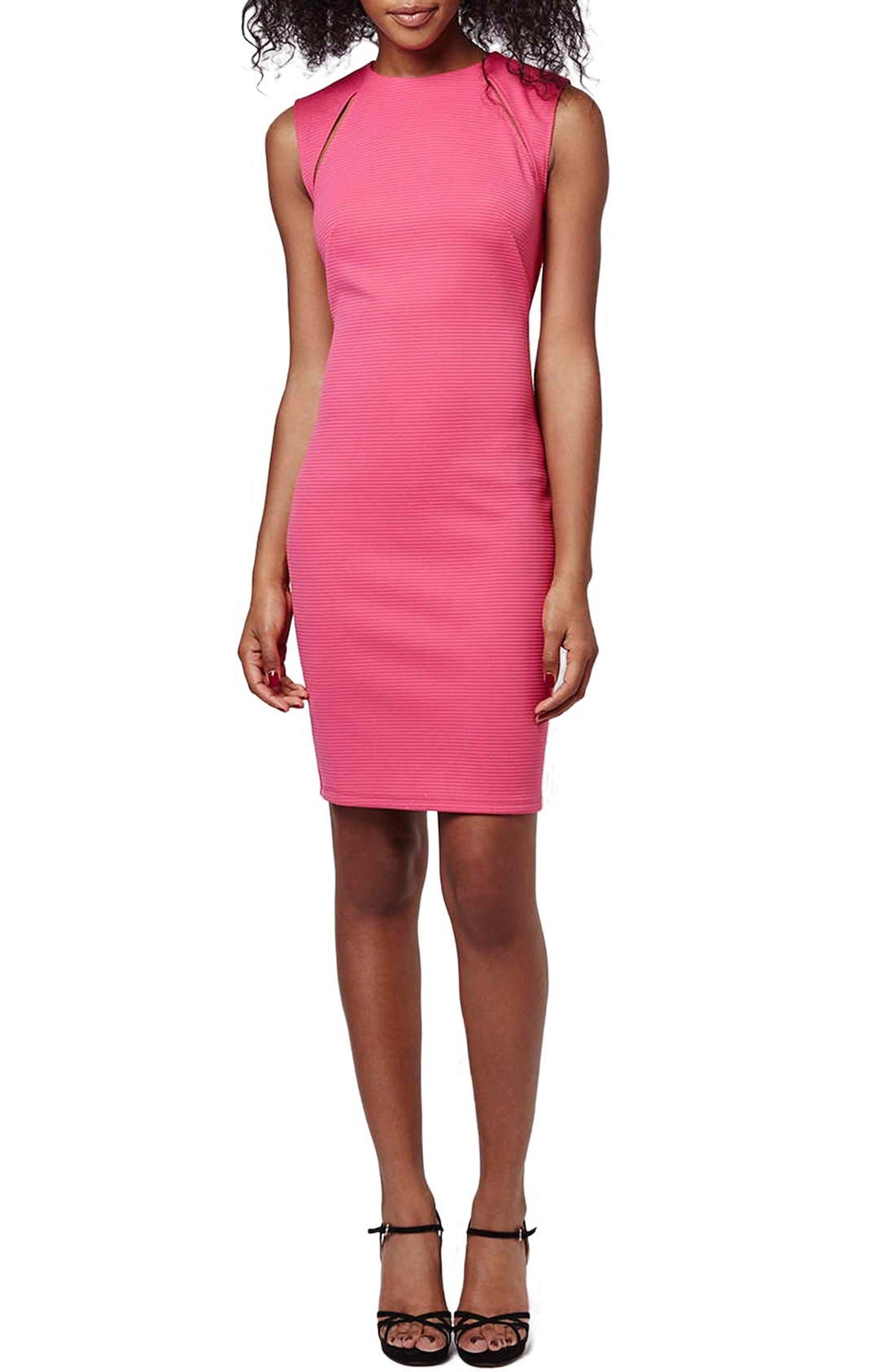 Main Image - Topshop Ribbed Cutout Body-Con Dress