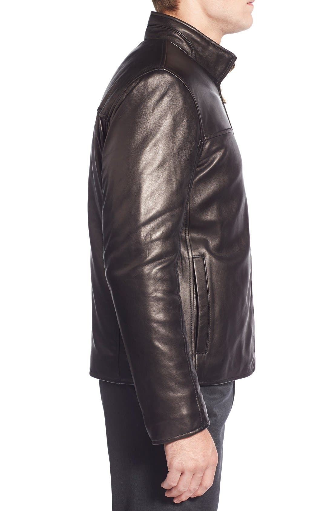 Lambskin Leather Moto Jacket,                             Alternate thumbnail 3, color,                             Black