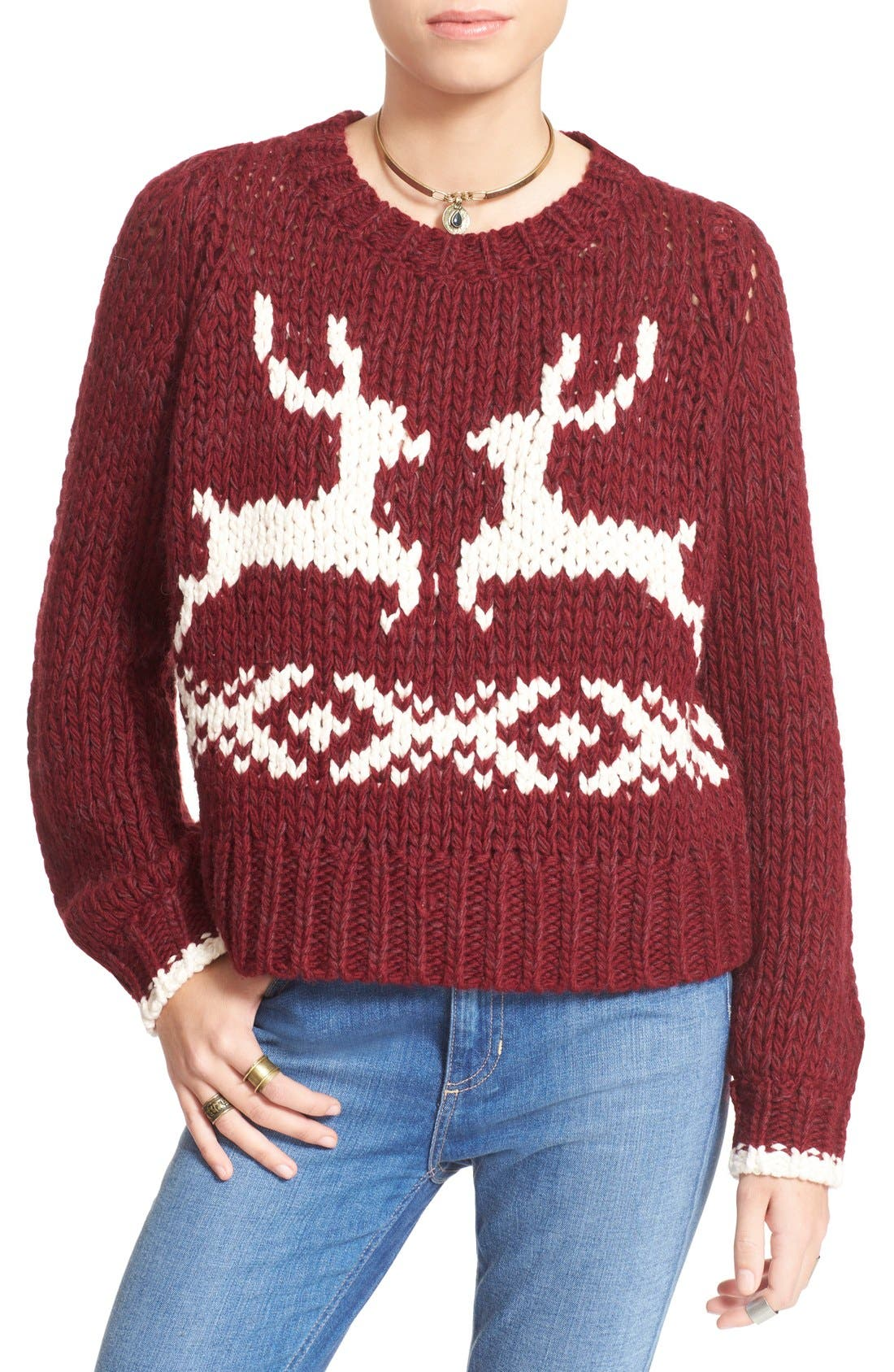 'Dancer and Prancer' Sweater,                             Main thumbnail 1, color,                             Beet Root