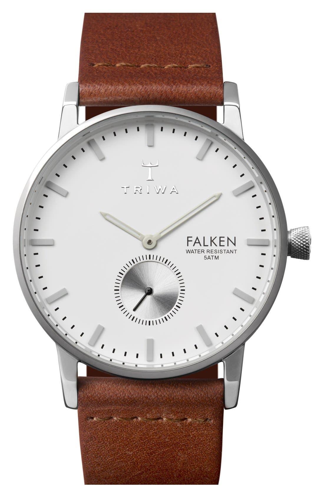 Ivory Falken Organic Leather Strap Watch, 38mm,                             Main thumbnail 1, color,                             Cognac/ Silver/ White