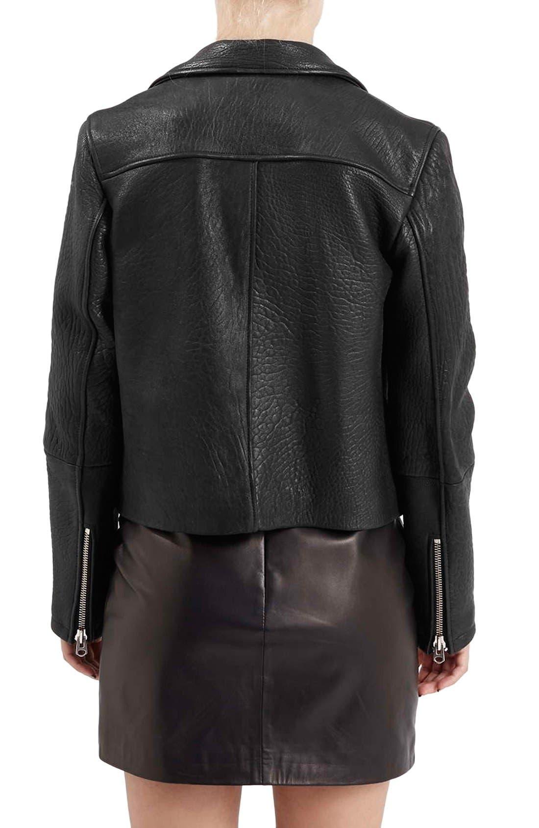 Alternate Image 4  - Topshop Boutique Leather Biker Jacket
