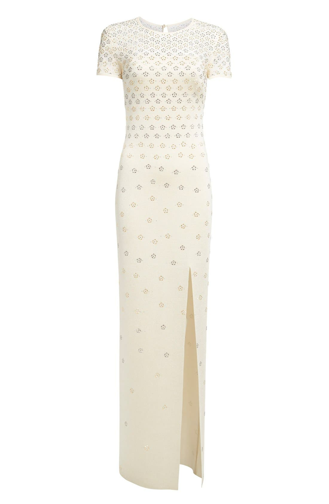 Alternate Image 4  - St. John Collection Crystal Embellished Shimmer Milano Knit Gown