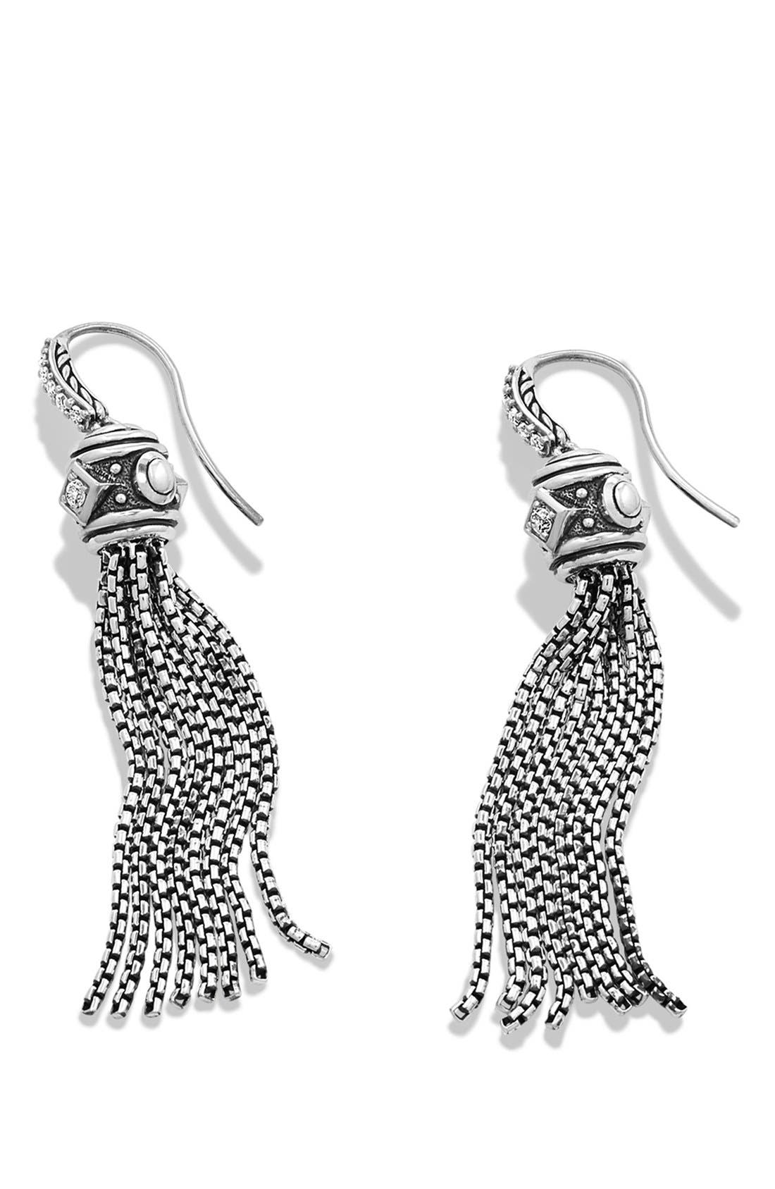 'Renaissance' Tassel Earrings with Diamonds in Silver,                             Alternate thumbnail 2, color,                             Diamond