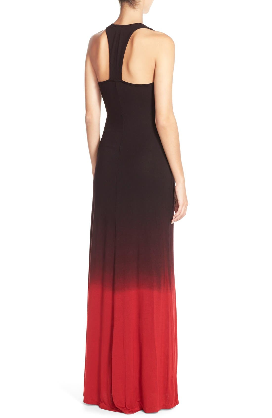 Racerback Maxi Dress,                             Alternate thumbnail 2, color,                             Black/ Red Ombre