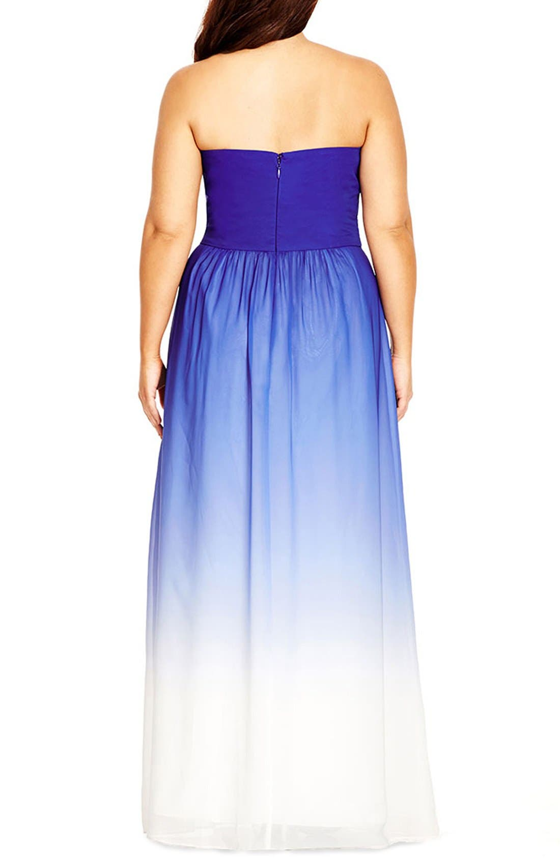 Alternate Image 2  - City Chic 'Enchanted' Embellished Strapless Ombré Maxi Dress (Plus Size)