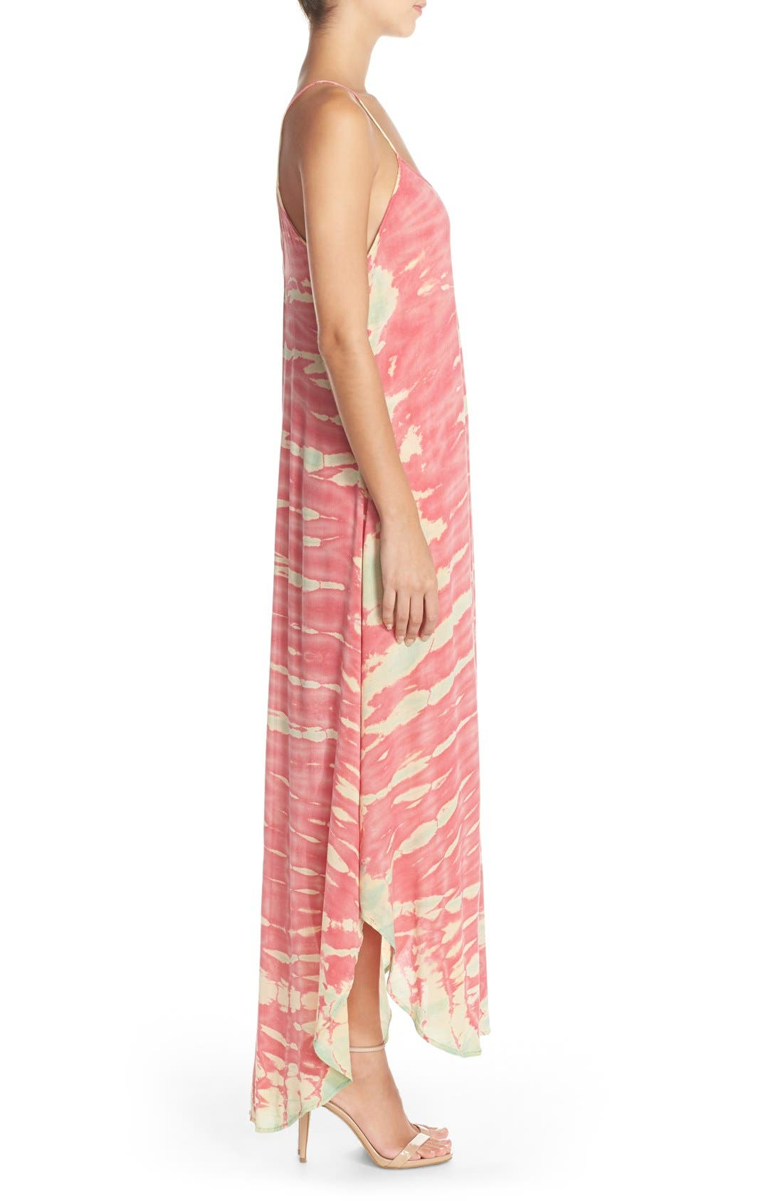Tie Dye A-Line Maxi Dress,                             Alternate thumbnail 3, color,                             Pink/ Mint Special