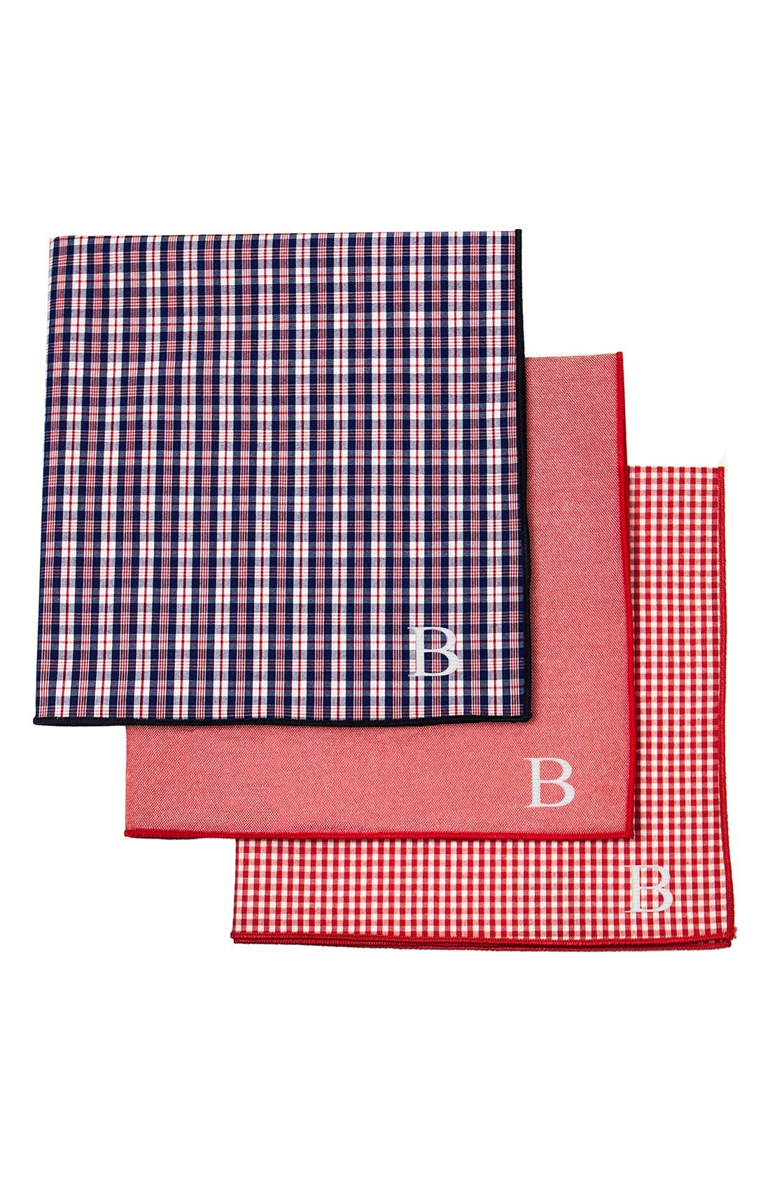 Set of 3 Monogram Pocket Squares,                         Main,                         color, Red - B