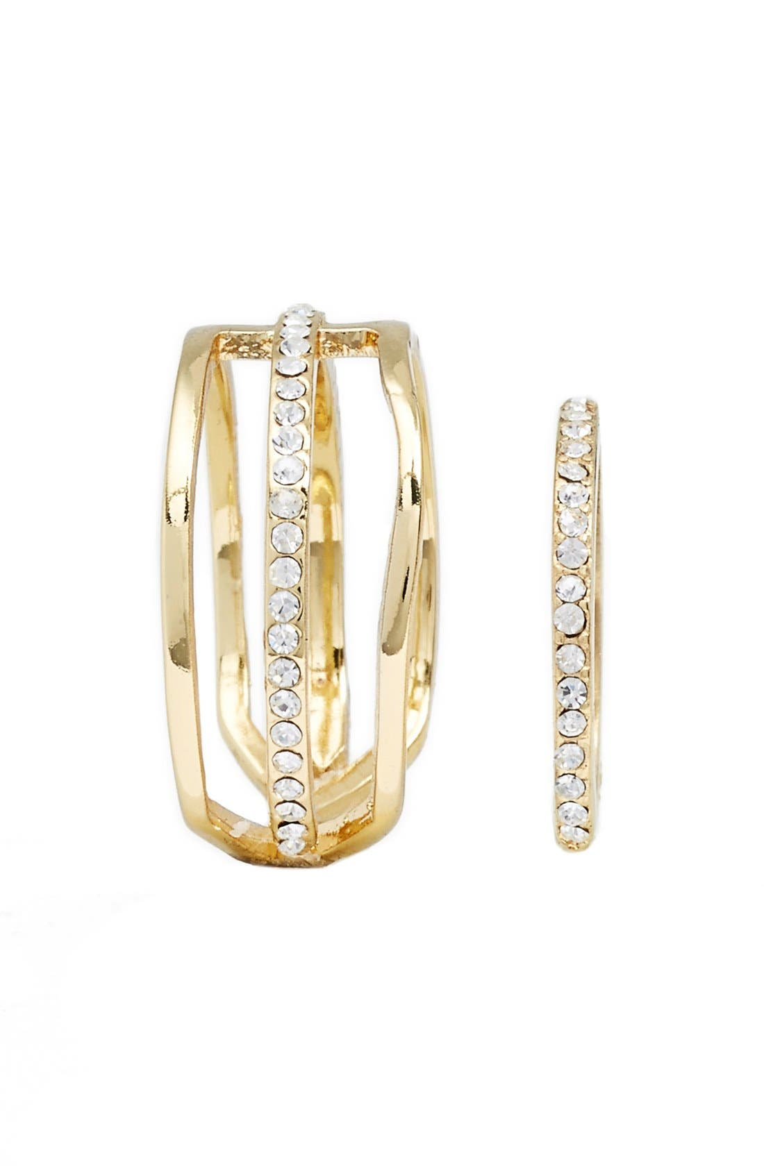 'Arrow' Crystal Rings,                             Alternate thumbnail 2, color,                             Gold/ Clear