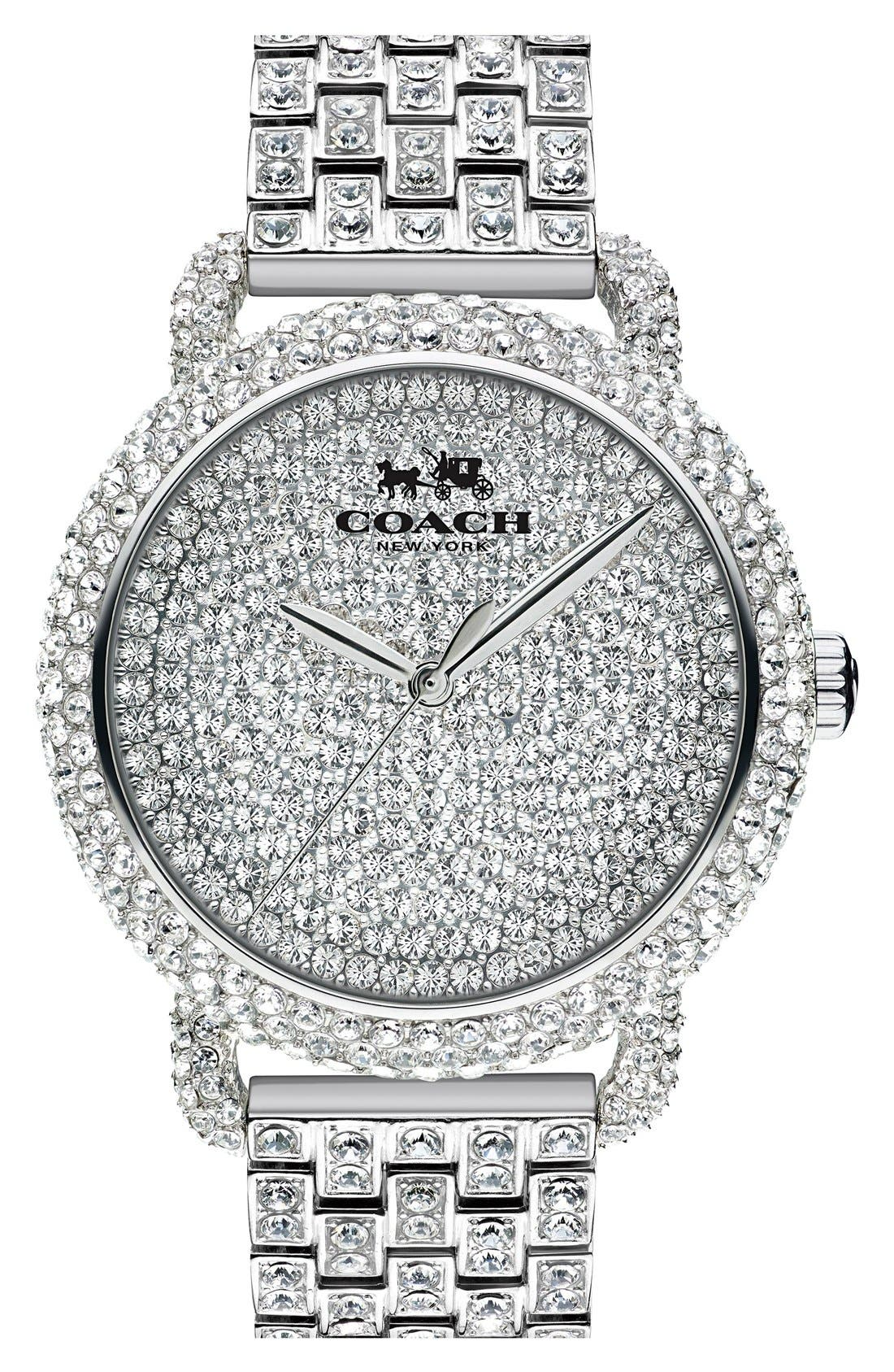 'Delancey' Crystal Bracelet Watch, 36mm,                         Main,                         color, Silver/ Pave
