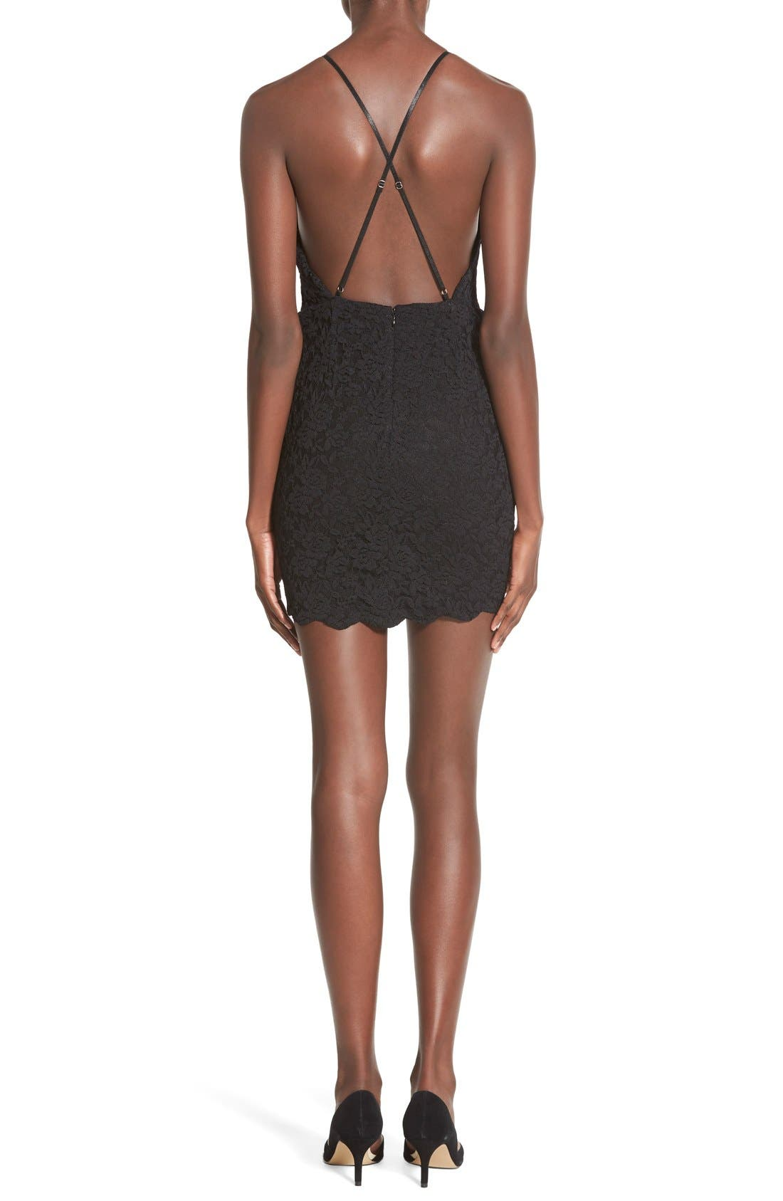 Alternate Image 2  - Hommage Strappy Lace Body-Con Dress