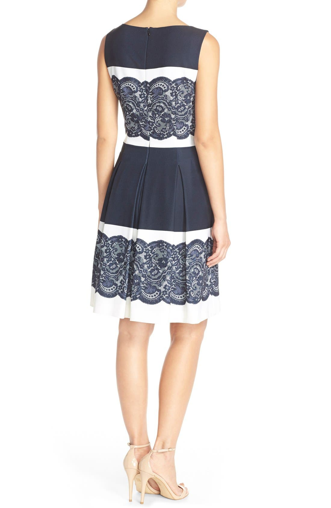 Alternate Image 2  - Tahari Lace Panel Twill Fit & Flare Dress (Regular & Petite)